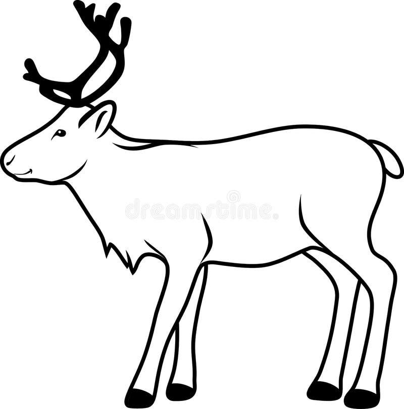 renna disegno di contorno illustrazione di stock