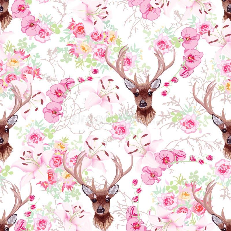 Renna graziosa e modello senza cuciture di vettore dei fiori royalty illustrazione gratis