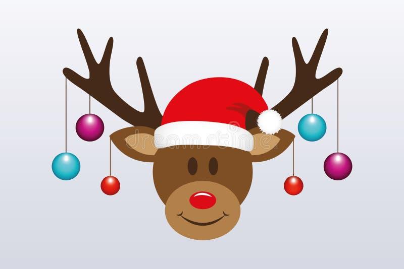 Renna sveglia con le palle dell'albero di Natale ed il cappello di Santa illustrazione di stock