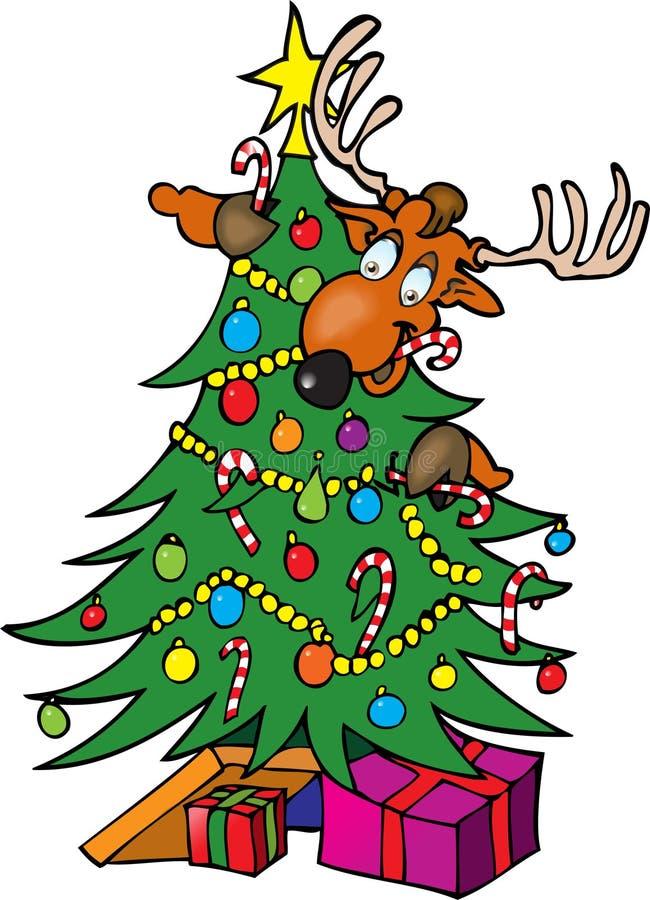 Renna in un albero di Natale illustrazione vettoriale