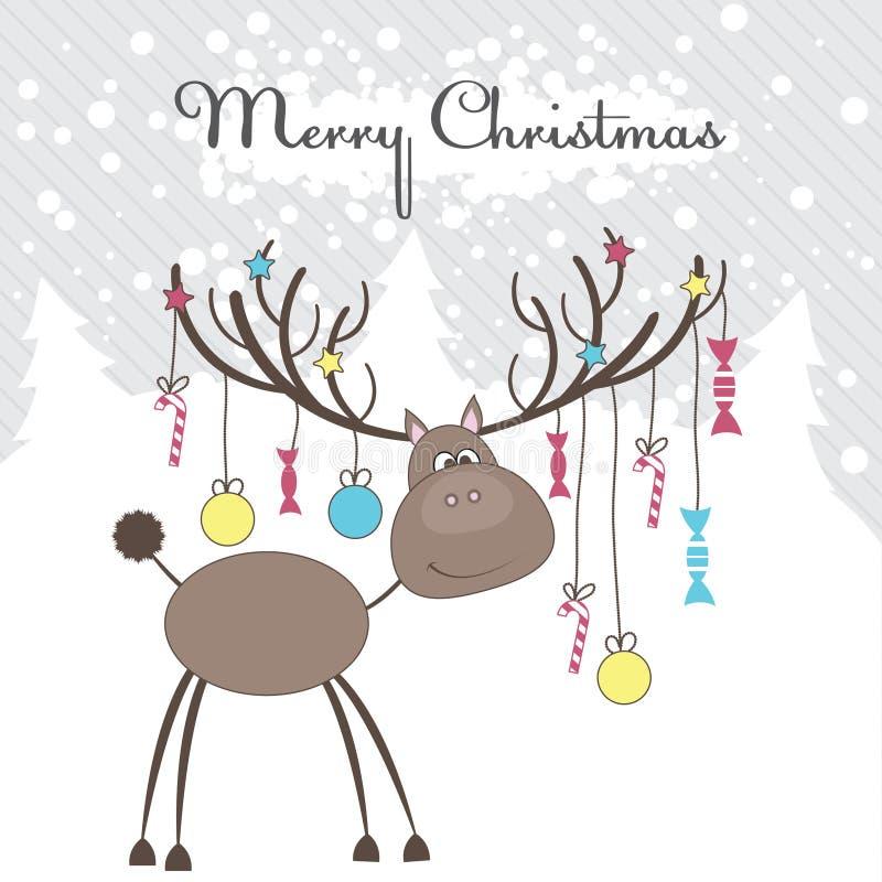 Renne de Noël avec des cadeaux. Illustration de vecteur illustration de vecteur