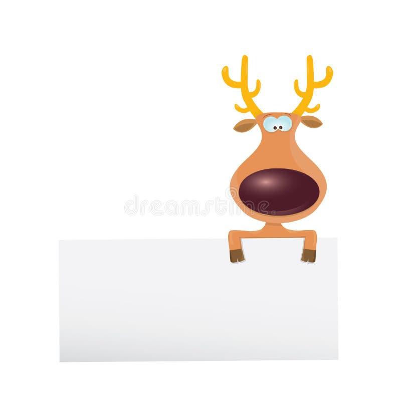 Renne de Noël de vecteur tenant la bannière blanche illustration de vecteur