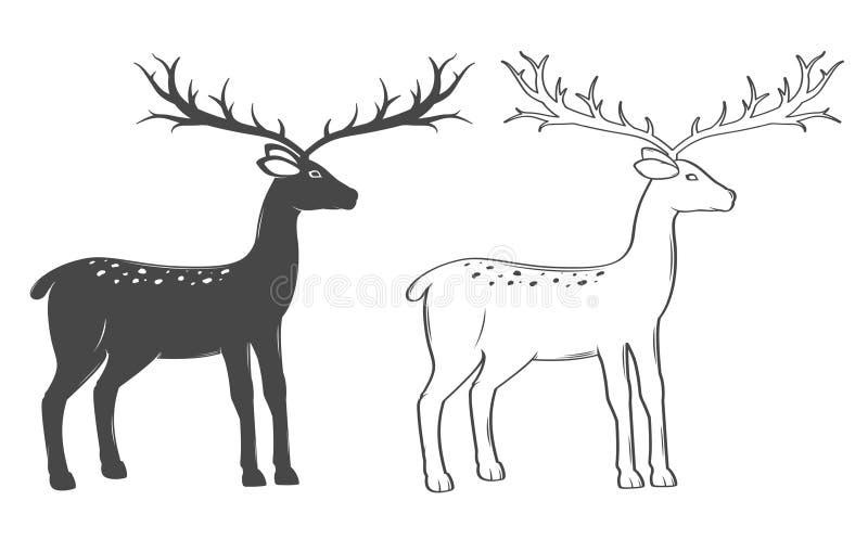Renne de Noël, ensemble sur le fond blanc illustration de vecteur