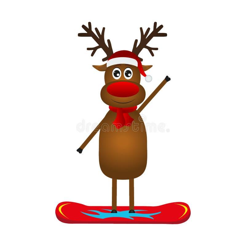 Renne de Noël sur un surf des neiges illustration libre de droits