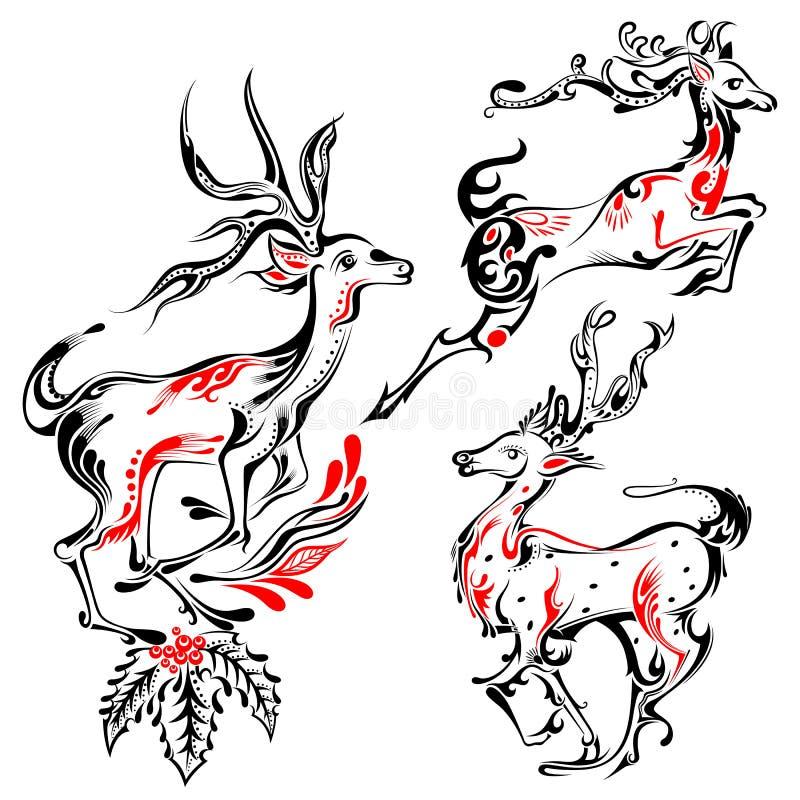 Renne de style de tatouage sur le fond saint de Noël illustration libre de droits