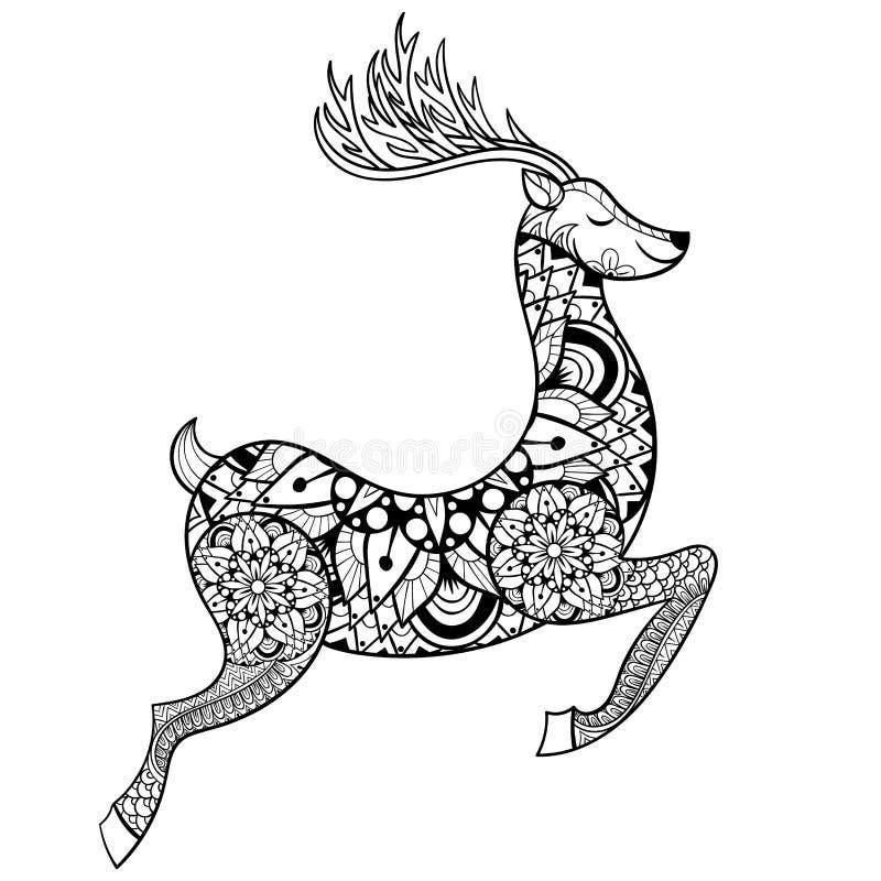 Renne de vecteur de Zentangle pour d'anti pages adultes de coloration d'effort illustration de vecteur