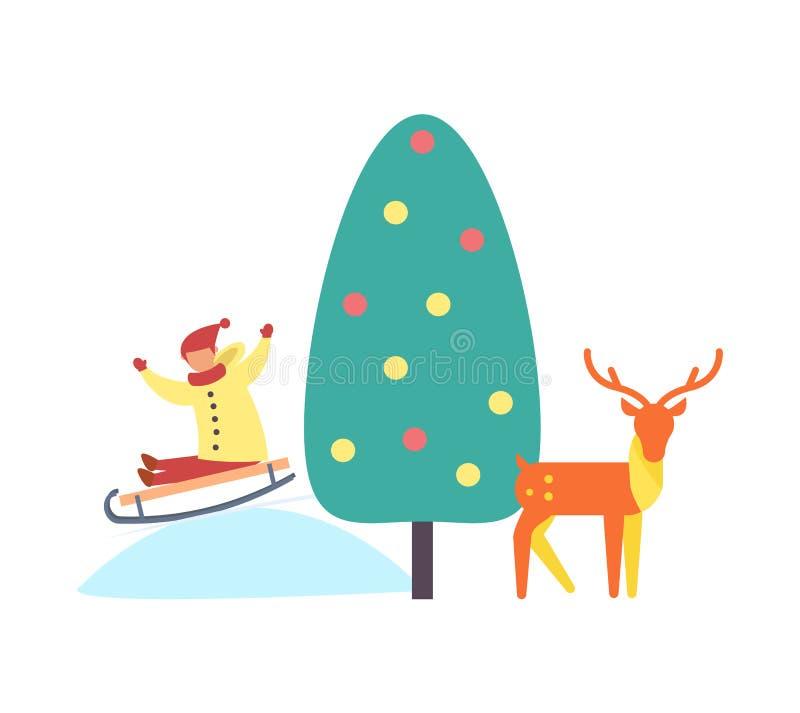 Renne et enfant d'arbre de Noël sur le vecteur de pente illustration libre de droits