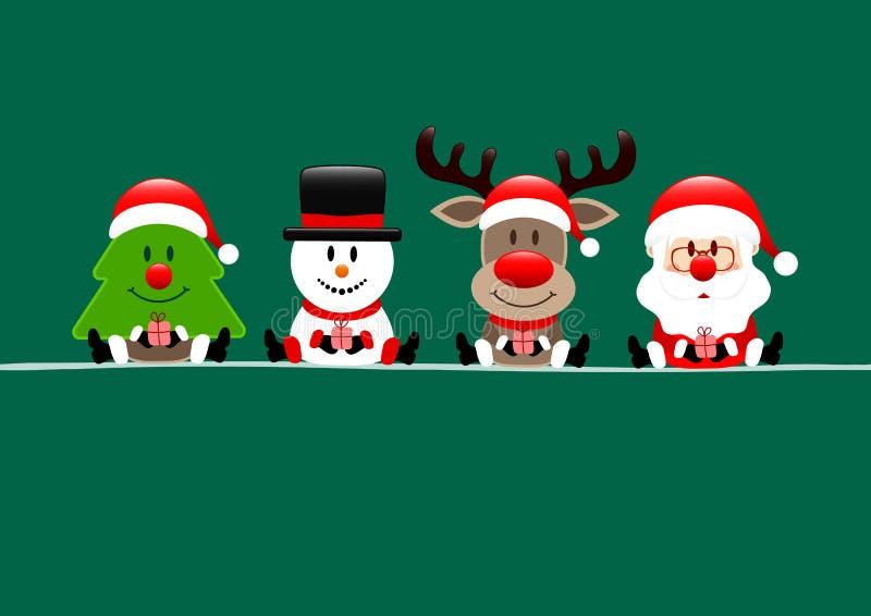 Renne et Santa Green de bonhomme de neige d'arbre de carte de Noël illustration libre de droits