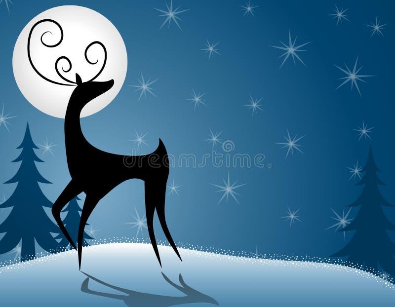 Renne ou cerfs communs restant dans le clair de lune illustration de vecteur