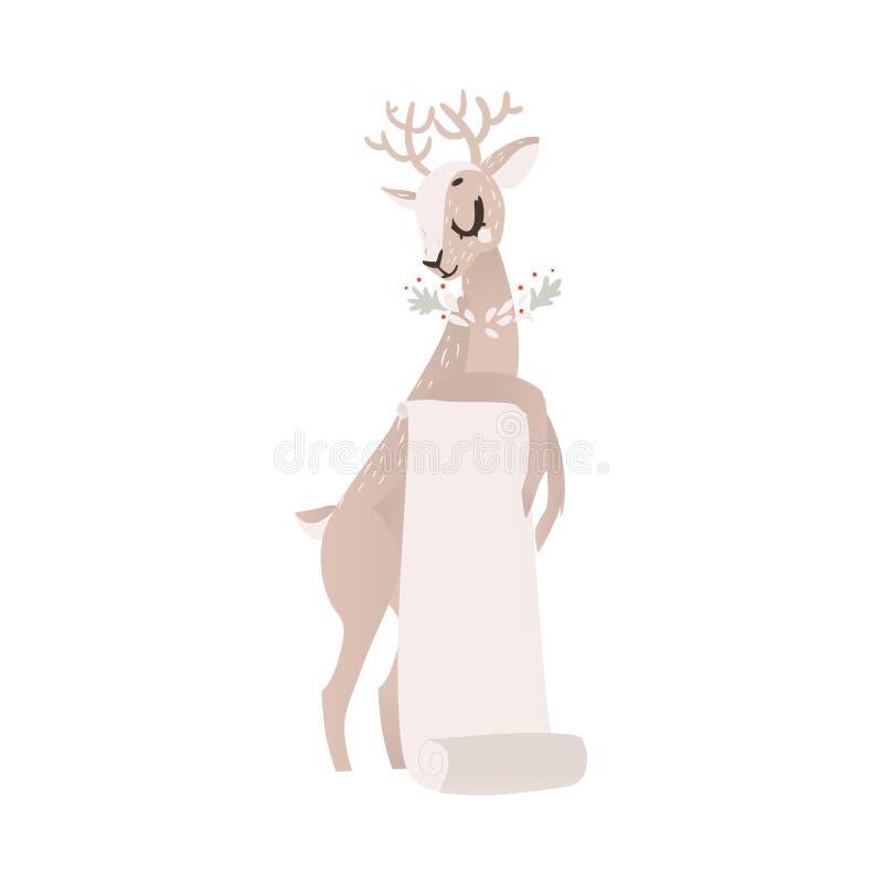 Renne plat de Noël de vecteur avec le rouleau de papier illustration libre de droits