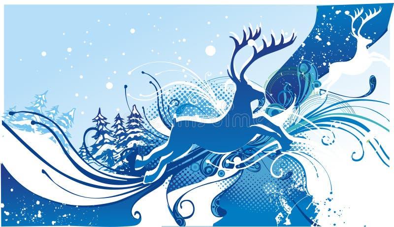 renne sur le fond de l'hiver illustration stock