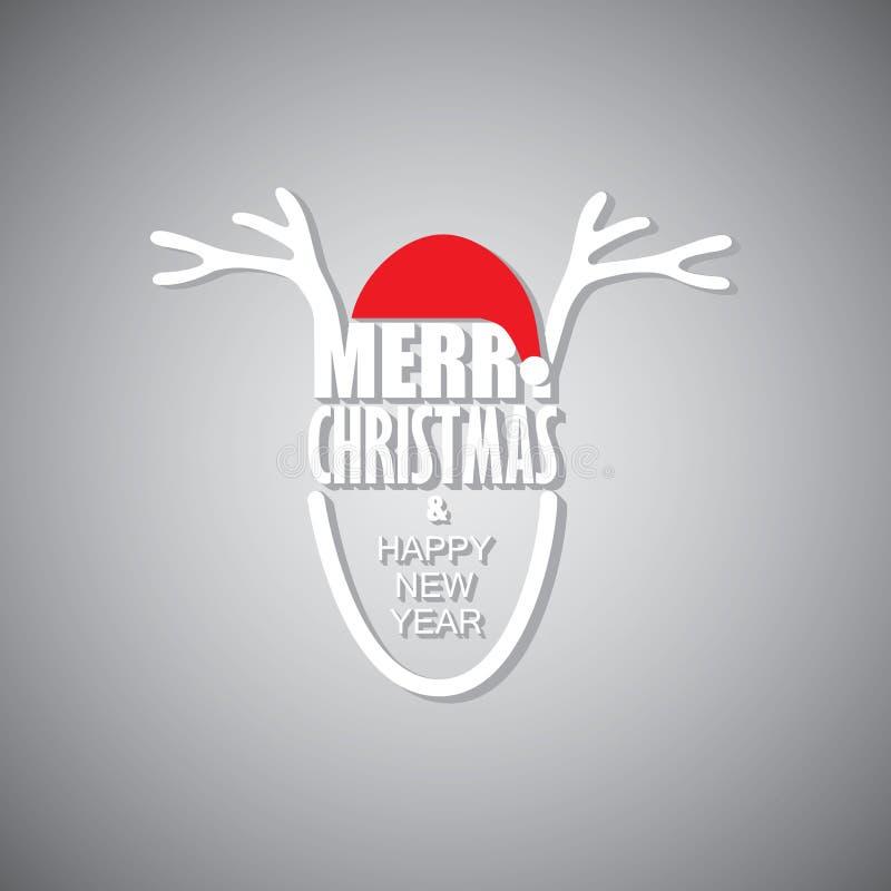 Renne utilisant le chapeau du père noël et saluant le Joyeux Noël et le h illustration libre de droits
