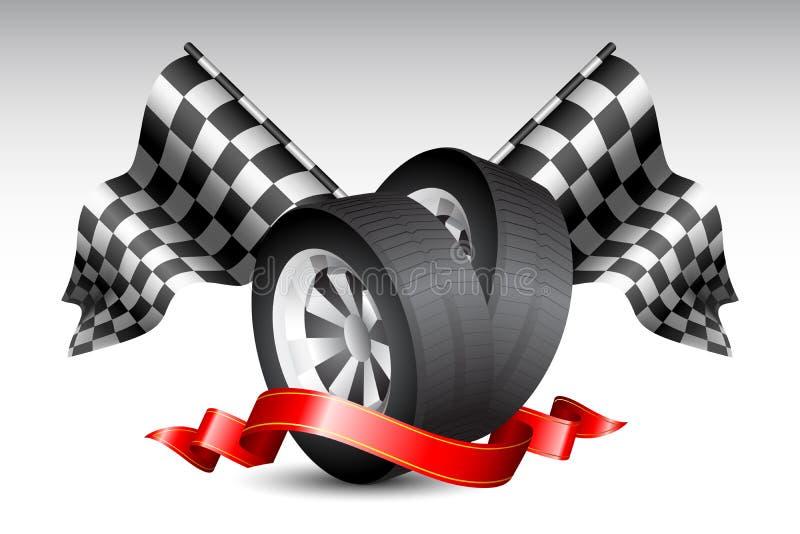Rennen-Markierungsfahnen mit Reifen lizenzfreie abbildung