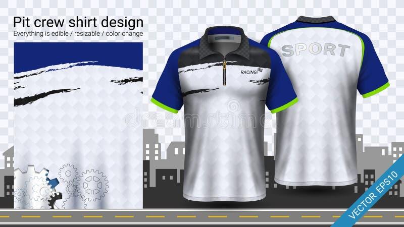 Rennend t-shirt met ritssluiting, leidt het het modelmalplaatje van de Sportkleding, tot kleding en uniformen royalty-vrije illustratie