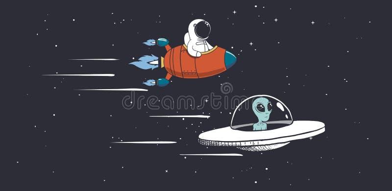 Rennende competities Vreemdeling en astronaut royalty-vrije illustratie