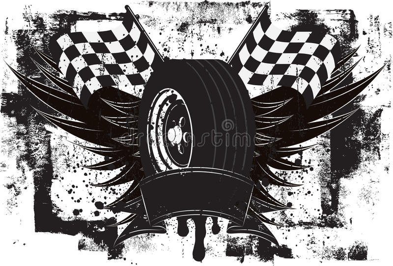 Rennende Vleugelsinsignes vector illustratie