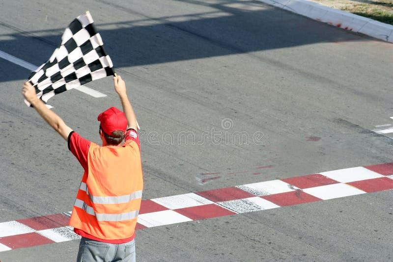 Rennenmarkierungsfahne stockbild