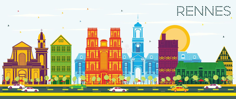 Rennes France City Skyline con Color Building e Blue Sky royalty illustrazione gratis