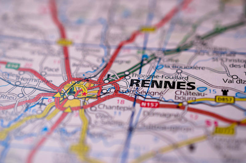 Download Rennes on map stock photo. Image of navigation, mapping - 97136332