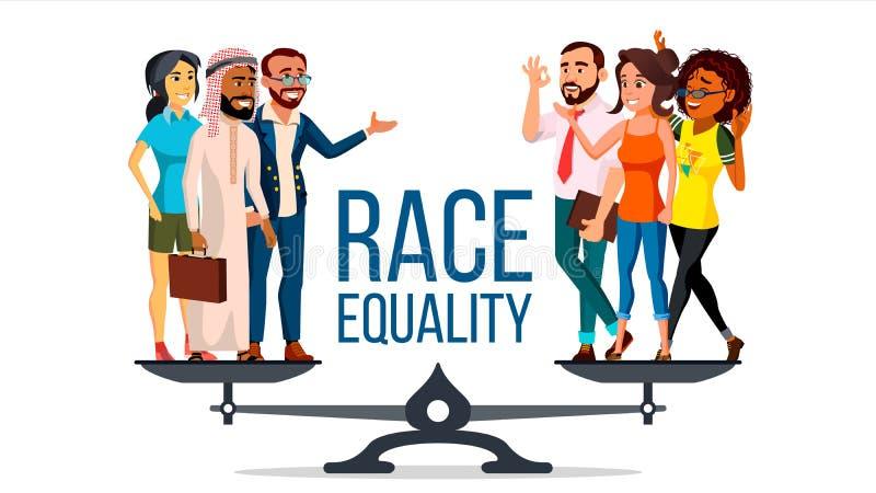 Renngleichheits-Vektor Stellung auf Skalen Chancengleichheit, Rechte Verschiedenartigkeits-Toleranz-Konzept stück Lokalisierte Eb stock abbildung