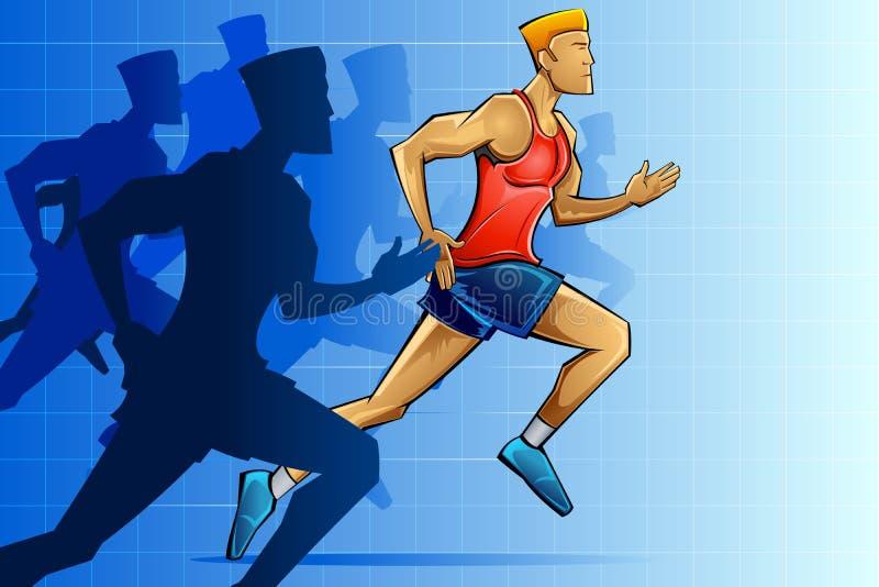 Rennläufer im Marathon lizenzfreie abbildung