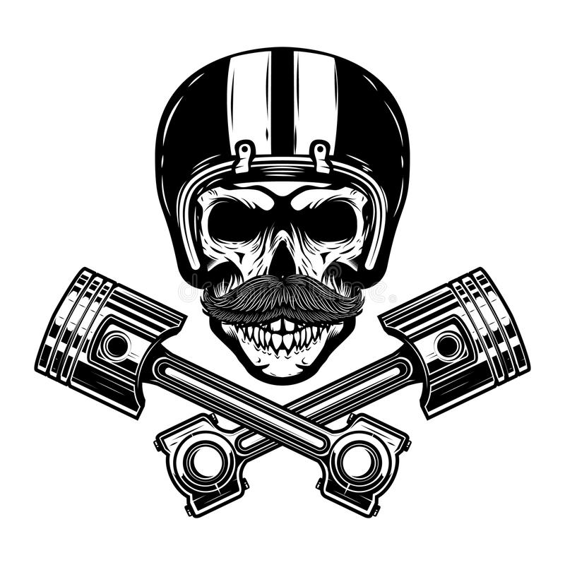 Rennläuferschädel mit gekreuzten Kolben Gestaltungselement für Emblem, Zeichen, Plakat, T-Shirt vektor abbildung