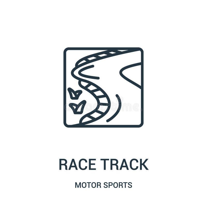 Rennstreckeikonenvektor von der Motorsportsammlung D?nne Linie Rennstreckeentwurfsikonen-Vektorillustration Lineares Symbol vektor abbildung