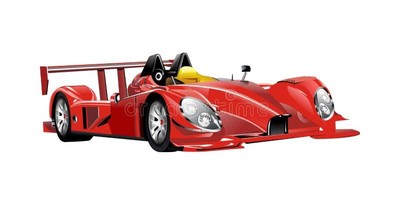 Rennwagen und Flaggen der roten Spinne des Vektors lizenzfreie abbildung