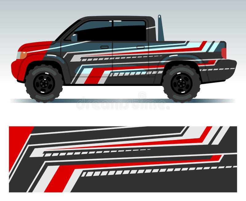 Rennwagendesign Fahrzeugverpackungs-Vinylgraphiken mit Streifen vector Illustration lizenzfreie abbildung