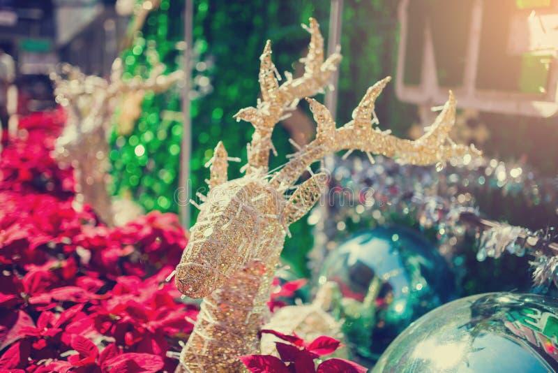 Reno adornado con el árbol rojo borroso del poinesettia para el fondo del día de fiesta de la Navidad imagenes de archivo
