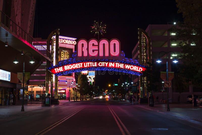 Reno Biggest Little City Arch-Zeichen lizenzfreie stockbilder
