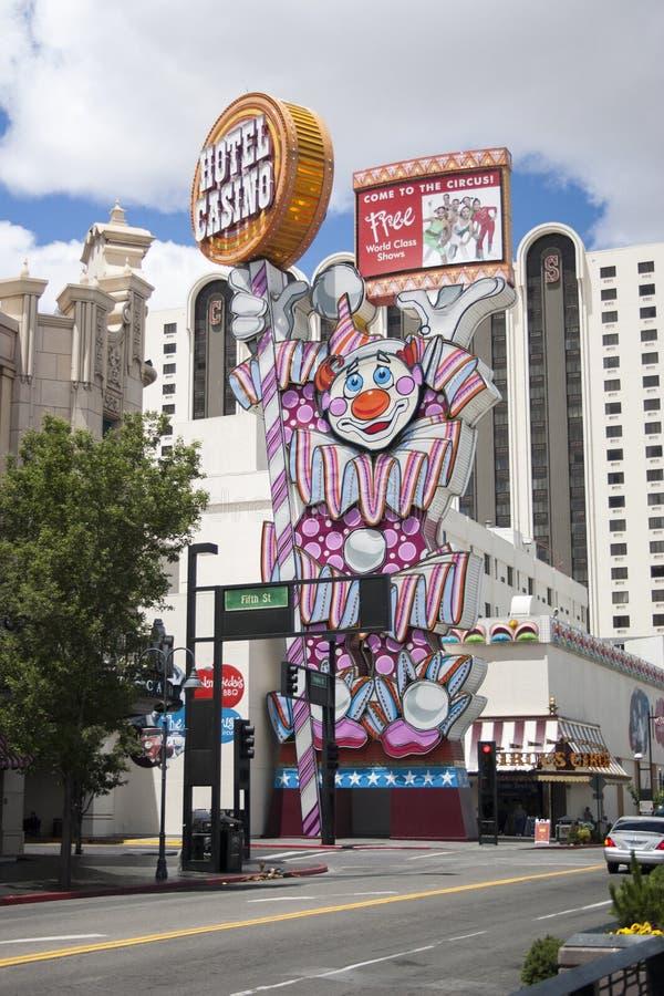 Reno Casino Clown Sign image stock