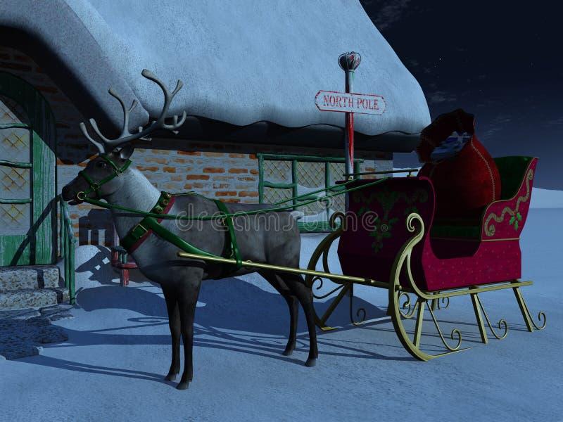 Reno con el trineo que espera fuera de la casa de Santas. libre illustration