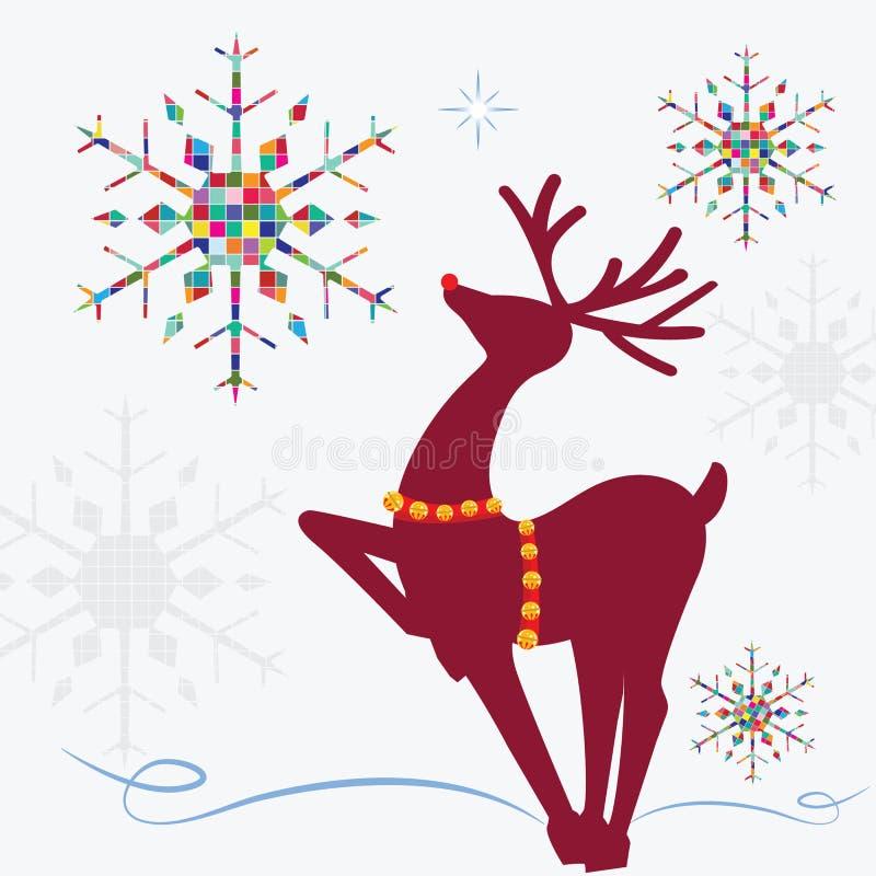 Reno con los copos de nieve coloridos ilustración del vector