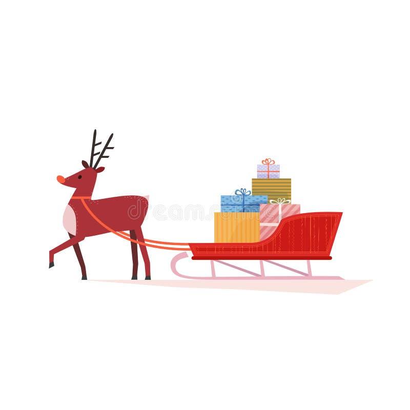 Reno con Santa Sleigh stock de ilustración