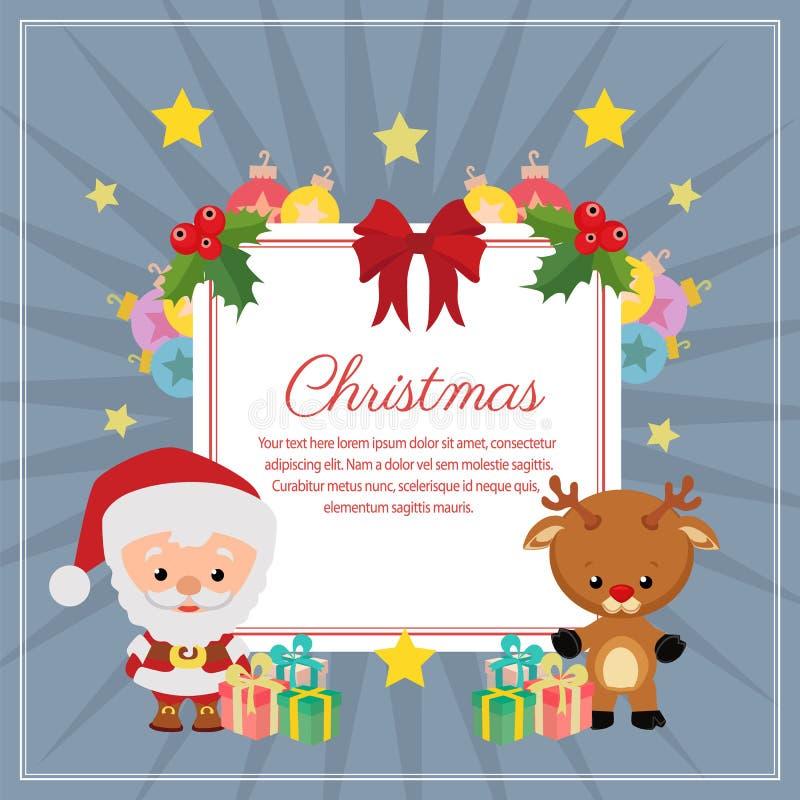 Reno cuadrado de Papá Noel del texto de la decoración de la Navidad stock de ilustración
