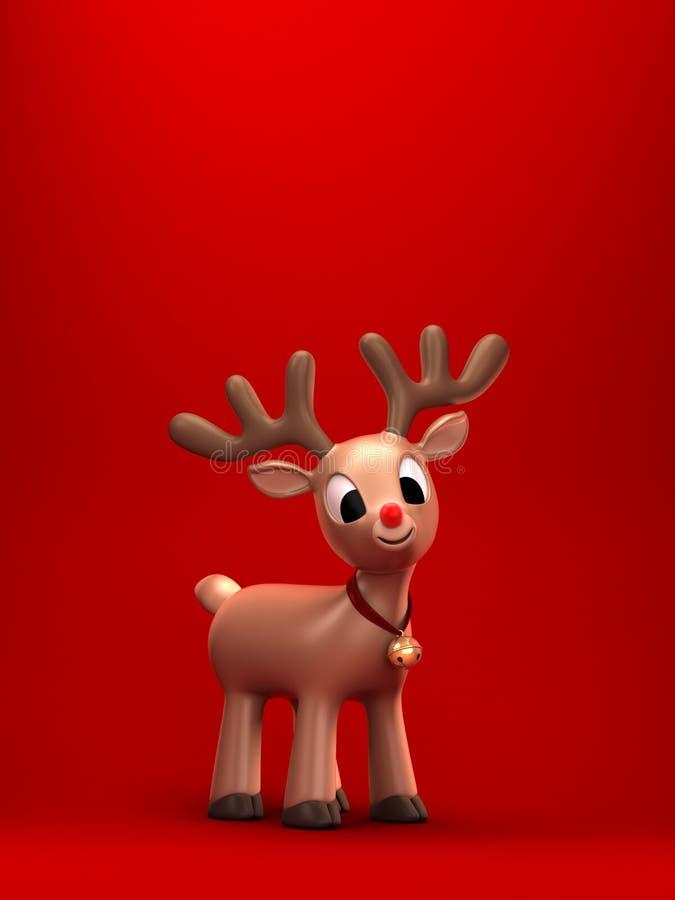 reno de la Navidad con el fondo verde stock de ilustración