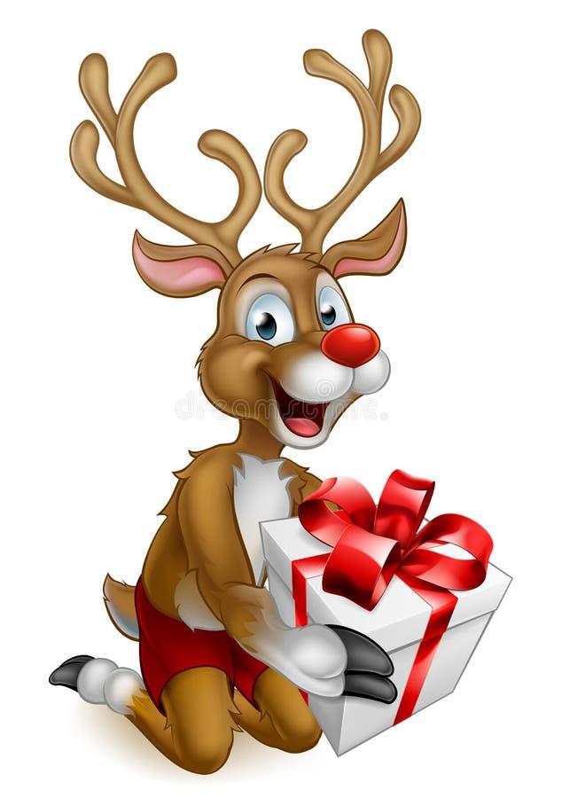 Reno de la Navidad de Santas que sostiene un regalo ilustración del vector