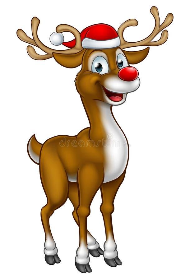 Reno de la Navidad en el sombrero de santa libre illustration