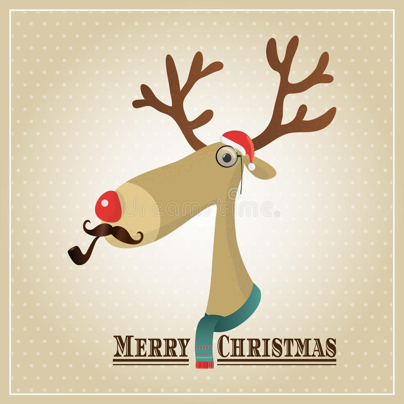Reno del ejemplo del vector, tarjeta de la Feliz Navidad stock de ilustración