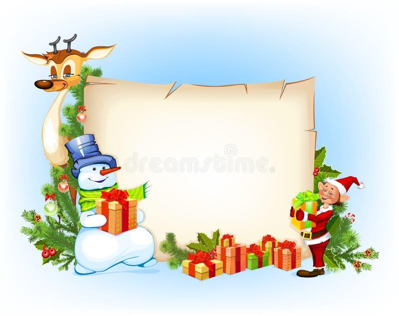 Reno del muñeco de nieve de la Navidad y un duende libre illustration
