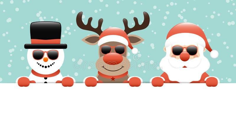 Reno del muñeco de nieve de la bandera y turquesa de Santa Sunglasses Holding Label Snow libre illustration