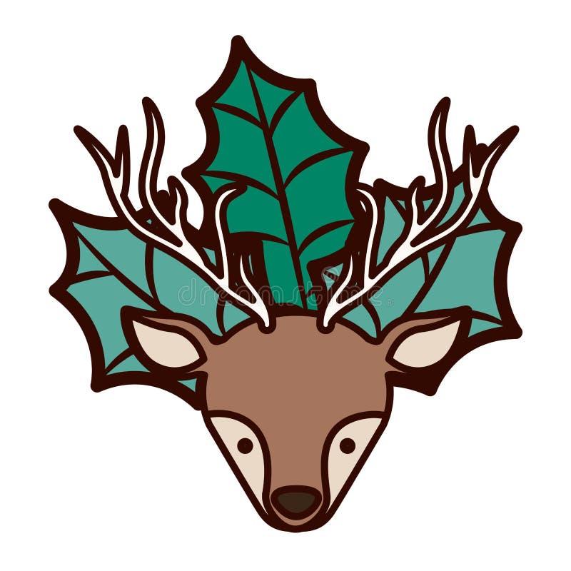 Reno delantero de la Navidad de la cara del ornamento con las hojas libre illustration
