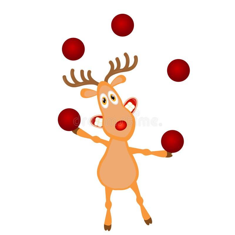 Reno divertido de la historieta que hace juegos malabares bolas rojas Carácter ideal para su diseño de la tarjeta de Navidad libre illustration