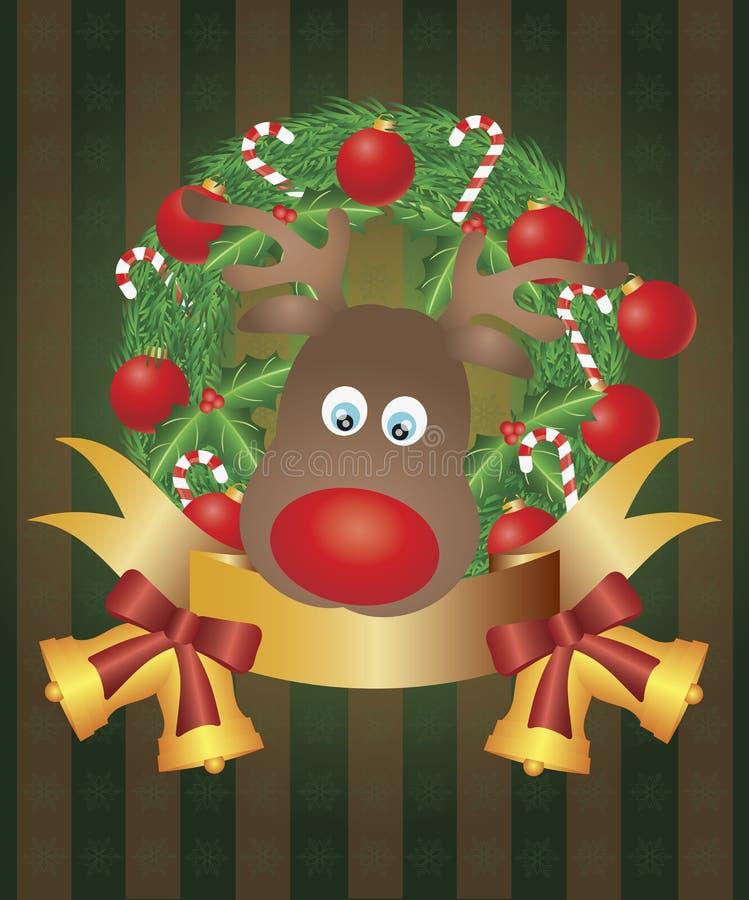 Reno en la ilustración de la guirnalda de la Navidad stock de ilustración