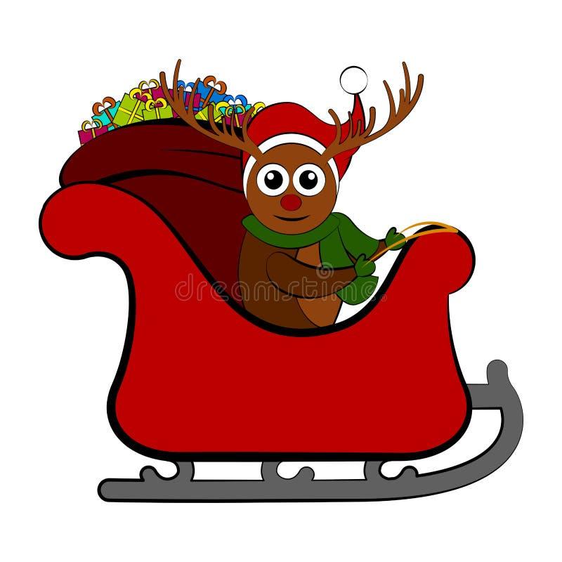 Reno en un trineo de la Navidad libre illustration