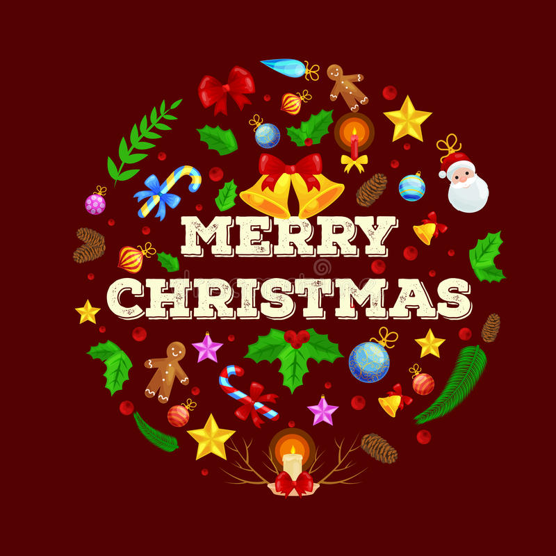 Reno feliz la víspera de luces del Año Nuevo y de la Navidad en los cuernos con las decoraciones libre illustration