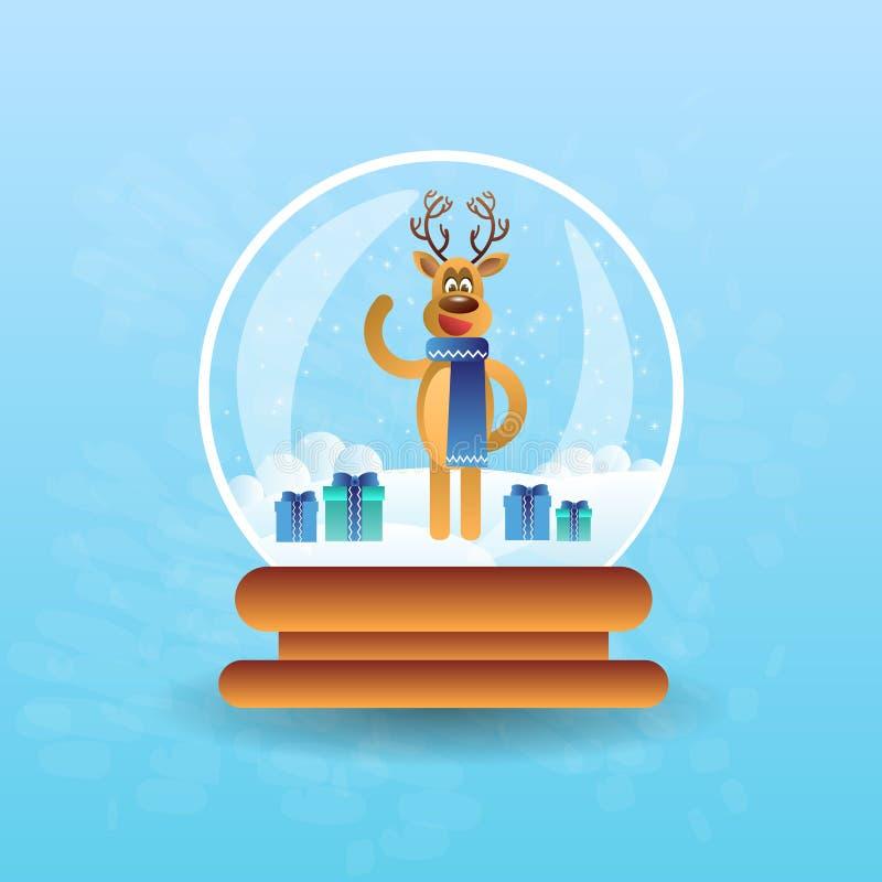 Reno lindo en bola de la magia de la Navidad ilustración del vector