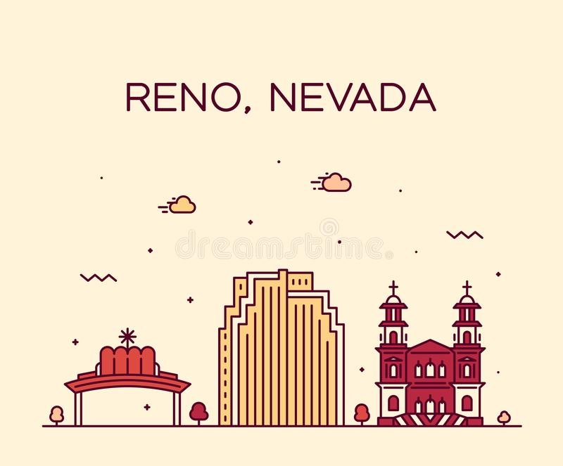 Reno linia horyzontu Nevada usa wektorowego miasta liniowy styl ilustracja wektor