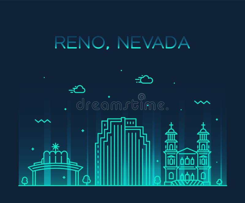 Reno linia horyzontu Nevada usa wektorowego miasta liniowy styl ilustracji